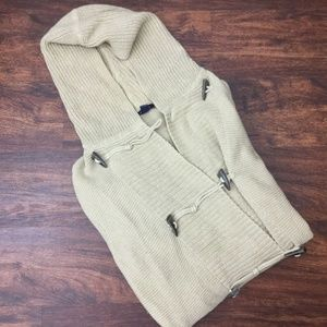 LANDS END Toggle Button Beige Hooded Cardigan
